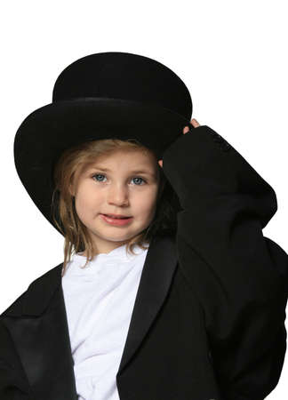 oversized: Cute little girl dressed up in an over-sized black tux and top hat Stock Photo