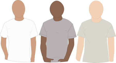 Set of mannequins wearing blank tee-shirts ready for your design Ilustração