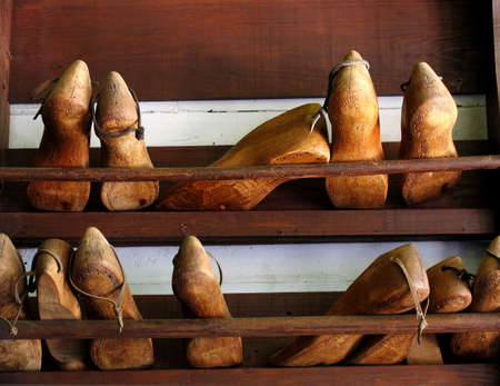 Old wooden cobbler shoe forms Stock Photo