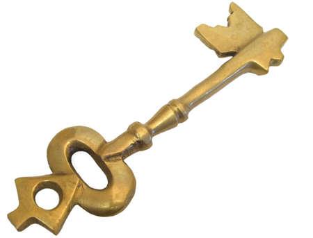 Antique style key on white background Stock Photo