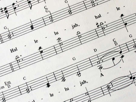hallelujah: Religious Sheet music Stock Photo