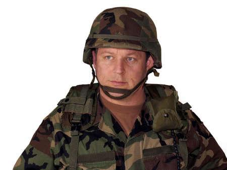 Amerikaanse soldaat met helm en versnelling geïsoleerd op wit Stockfoto