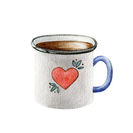 Tin white cup with a red heart watercolor illustration. Nice cartoon mug with a love symbol and black tea or coffee inside. Perfect for greeting cards element on Valentine's day.