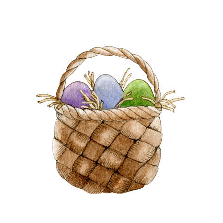 Easter basket with eggs watercolor illustration. Hand drawn traditional Easter symbol with color painted eggs image. Isolated on white background