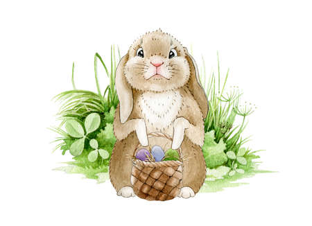 Easter bunny on the meadow watercolor illustration. Funny cute little rabbit on the green grass with a basket full of eggs. Traditional Easter symbol greeting image. Hand drawn cartoon hare image.
