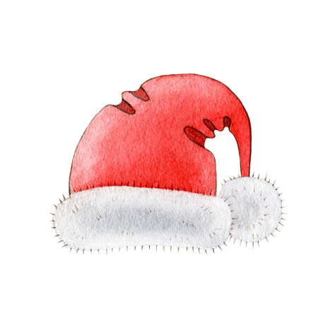Red santa hat with white fur watercolor illustration. Hand drawn Christmas and new year single object. Festive winter element isolated on white background. Stock fotó
