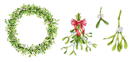 Mistletoe branch, wreath and bouquet with red ribbon watercolor illustration. Hand painted traditional seasonal christmas and new year evergreen plant, isolated on white background