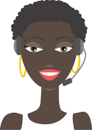 illustration of an Africanamerican phone support operator woman in headset  No gradients were used when creating his illustration