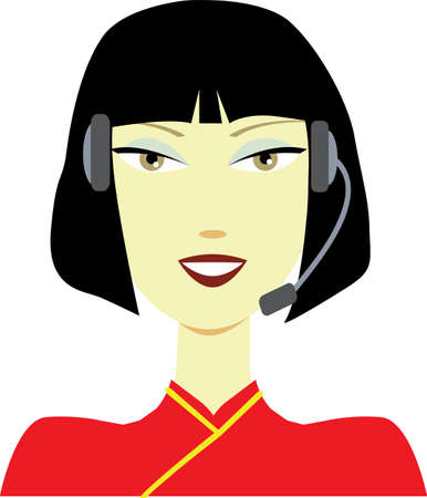 illustration of an Asian phone support operator woman in headset  No gradients were used when creating his illustration