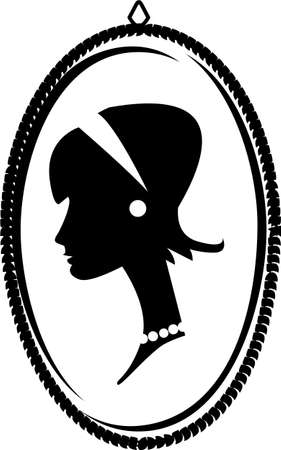 cameo: Cameo with a young woman s profile having a headband and pearls in vintage fashion, looking both retro and regal  Illustration