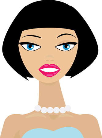 illustration of an attractive young woman with a classic straight black bob hairstyle with bangs  No gradients were used when creating this illustration
