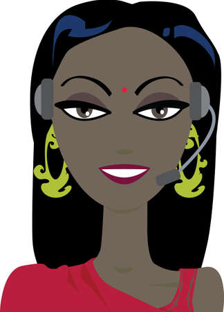 illustration of an Indian phone support operator woman in headset. No gradients were used when creating his illustration.