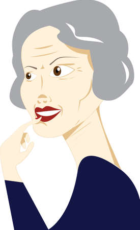 A illustration of an elegant, well-groomed and healthy looking senior woman intrigued by or engaged in some activity.
