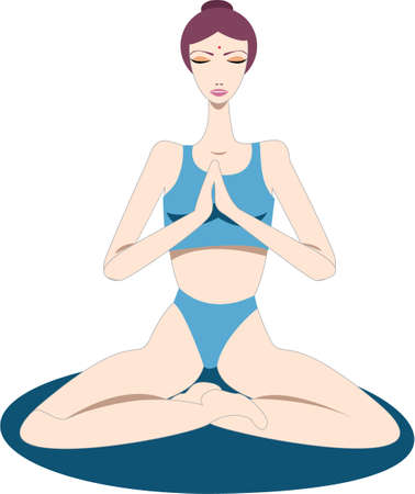 equanimity: Yogini - a woman sitting on a yoga mat and focusing on breathing - meditates in lotus pose or padmasana, hands in prayer pose, eyes closed, to silence her mind and relax her body in order to reach inner peace and well-being. Illustration