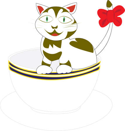 Cartoon of a playful cute tiny cat with a red bow on her tail and a heart shape on her fur standing in a tea cup, isolated on white.