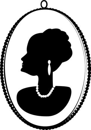 cameo: Cameo of an older woman s profile heavily decorated with expensive jewelry, elegant up-do, in a frame  Illustration