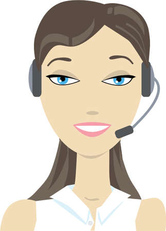Vector illustration of a phone support operator woman in headset  No gradients were used when creating his illustration