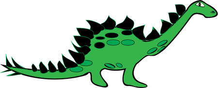 Vector illustration of a Stegosaurus dinosaur in cartoon style isolated on white  No gradients used  Illustration