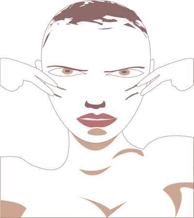 war paint: Ilustraci�n vectorial de una mujer que pone la pintura de guerra en su cara jugar juegos de guerra No degradados usados, aislado en blanco