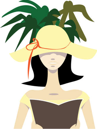 Vector illustration of a woman with floppy sun hat reading a book in shade under palms on holidays  No gradients used; isolated on white