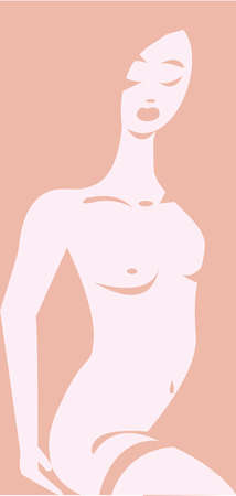 Vector illustration of an erotic naked woman emerging from pink background, removing her garter  No gradients used