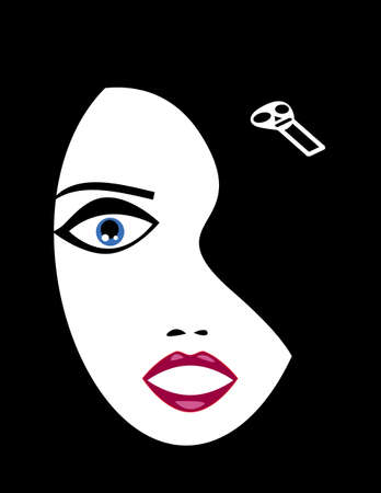 Vector illustration of a pale goth girl face emerging from black background wearing skull hairpin  No gradients used  Illustration