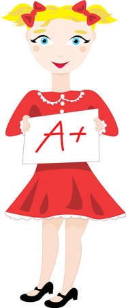 Vector cartoon clip art of a schoolgirl smiling and showing her excellent a plus grade. No gradients used; isolated on white. Stock Vector - 21448537