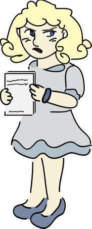 Vector cartoon clip art of a girl annoyed and frustrated with bad grades on her papers. No gradients used; isolated on white.