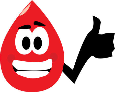 Vector cartoon clip art of a blood drop showing thumbs up for donating blood. No gradients used; isolated on white.