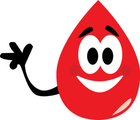 Vector cartoon clip art of a blood drop waving to where to donate blood. No gradients used; isolated on white.  Illustration