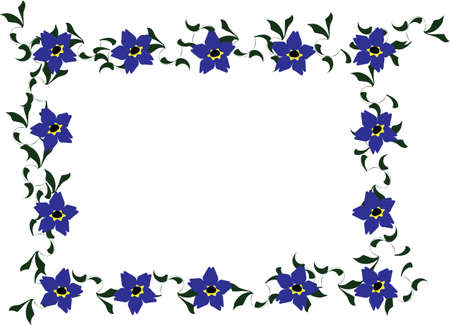 Vector cartoon clip art of forget me not flowers and dark green leaves forming a frame. No gradients used; isolated on white. Vector