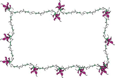 Vector cartoon clip art of purple lily flowers and swirly green stems forming a frame. No gradients used; isolated on white. Illustration