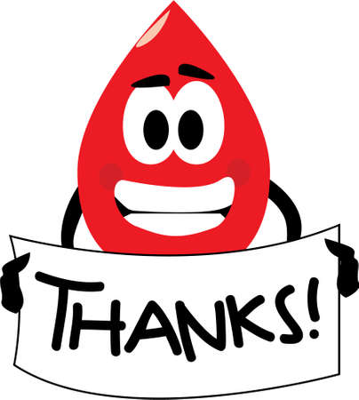 Vector cartoon clip art of a blood drop thanking you for donating blood. No gradients used; isolated on white. Vector
