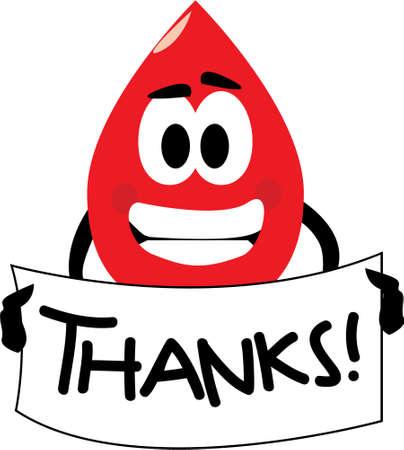 donor: Vector de dibujos animados clip art de una gota de sangre que usted las gracias por la donaci�n de sangre. Ningunos gradientes usados, aislado en blanco. Vectores