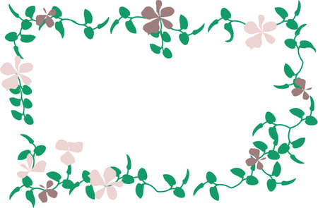 Vector cartoon clip art of violet flowers and green leaves forming a frame. No gradients used; isolated on white.