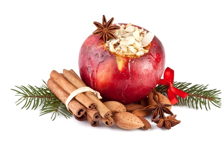 apple christmas: baked apple with fir branch, isolated on white backgound Stock Photo