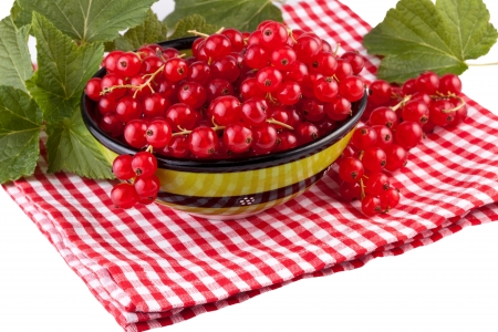 fresh red currant in green bowl