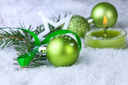 christmas decoration with green balls