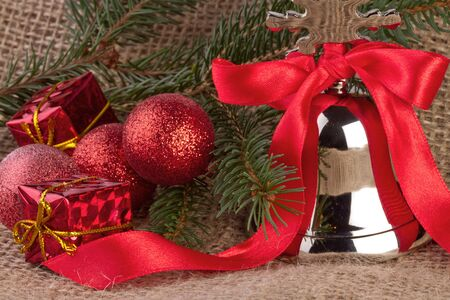 christmas decoration with silver bell photo