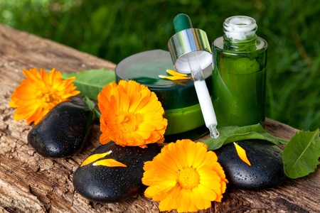 marigold flowers, body care concept