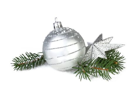 christmas decoration in silver color, isolated on white background photo