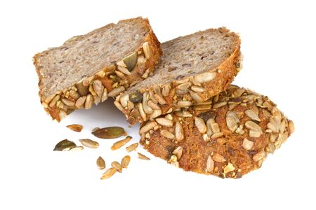 sliced whole wheat bread, on white background Stock Photo