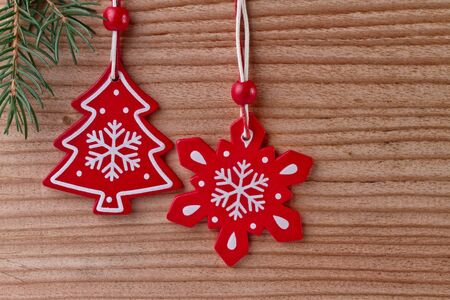 christmas decoration on wood background photo