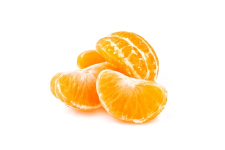 slices of tangerine, isolated on white background