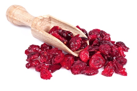 Close up of dried cranberry, isolated on white background