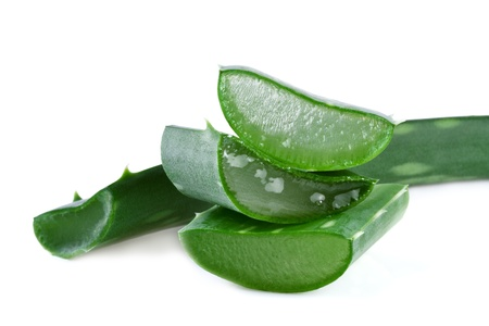 aloe vera leaf and slices isolated on white background Stock Photo - 16985634
