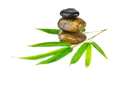 zen stones with bamboo leaves isolated on white Stock Photo - 17166347