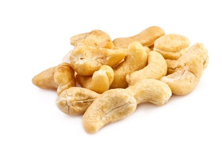 cashew tree: cashew nuts isolated on white, close up