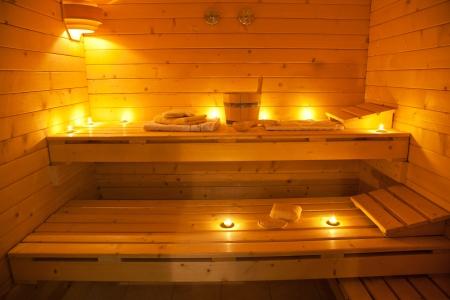 finland�s: interior de una sauna finlandesa Foto de archivo