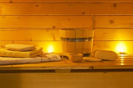 interiér sauny a saunového příslušenství Reklamní fotografie